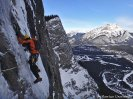 Michał Dorocicz on crux pitch of Sea of Vapors, Canadian Rockies